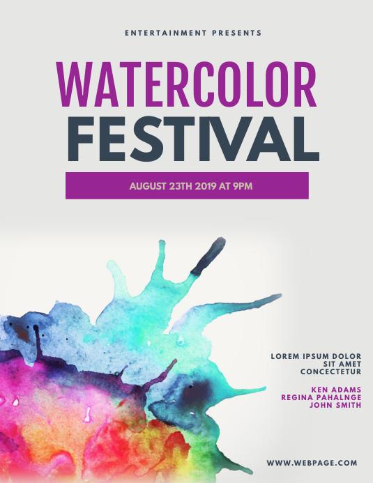 Watercolor flyer template
