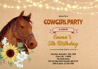 Watercolor horse invitation A6 template