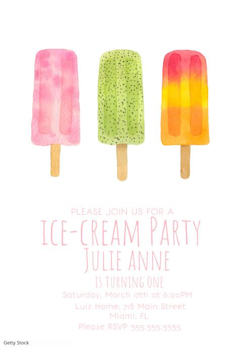 Watercolor Ice-Cream Pop Invitatio A4 template
