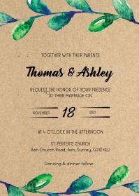Watercolor leaf wedding invite