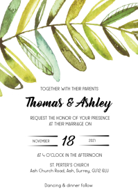 Watercolor leaf wedding invite
