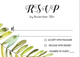 Watercolor leaf wedding RSVP card