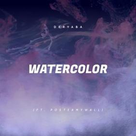 Watercolor Music Video CD Cover Art Cuadrado (1:1) template