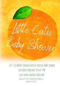 Watercolor Orange Baby Shower Invitations A4 template