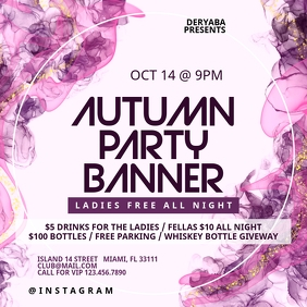 Watercolor Party Instagram Banner Template