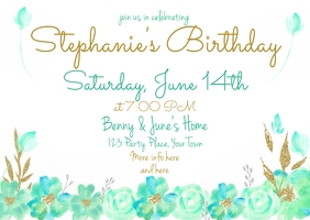 Watercolor Pastel Flower Invitation Teal Gold