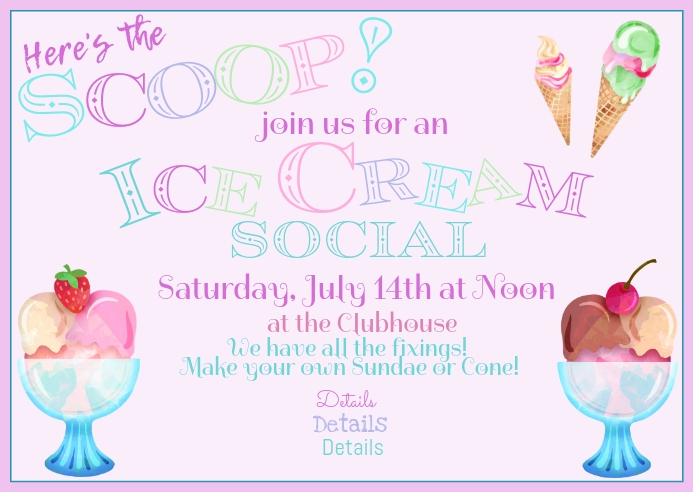 Watercolor Pastel Ice Cream Social Event Invi Briefkaart template