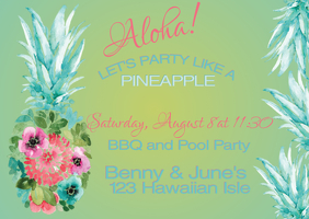 Watercolor Pineapple Invitation Postal template
