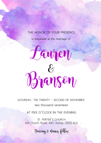 Watercolor purple invitation A6 template