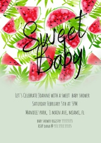 Watercolor Sweet Watermelon Baby Shower Invit A4 template