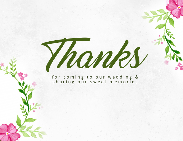 Watercolor Thank You Card Template Volante (Carta US)