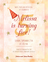 Watercolor Themed Birthday Party Flyer