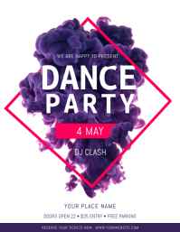 Watercolor Themed Dance Party Flyer template