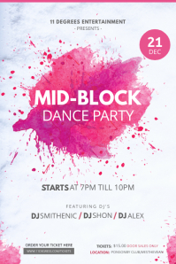 Watercolor Themed Dance Party Poster