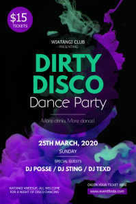Watercolor Themed Disco Party Poster