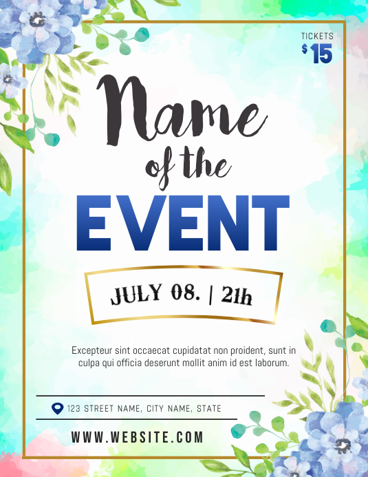 Watercolor Themed Floral Event Flyer