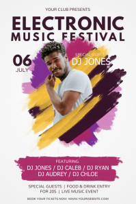 Watercolor Themed Music Festival Poster template