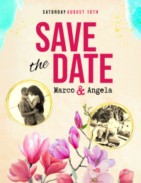 Watercolor Themed Save the Date Flyer