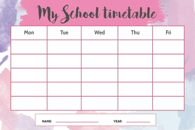 Watercolor Themed School Timetable Landscape Poster template