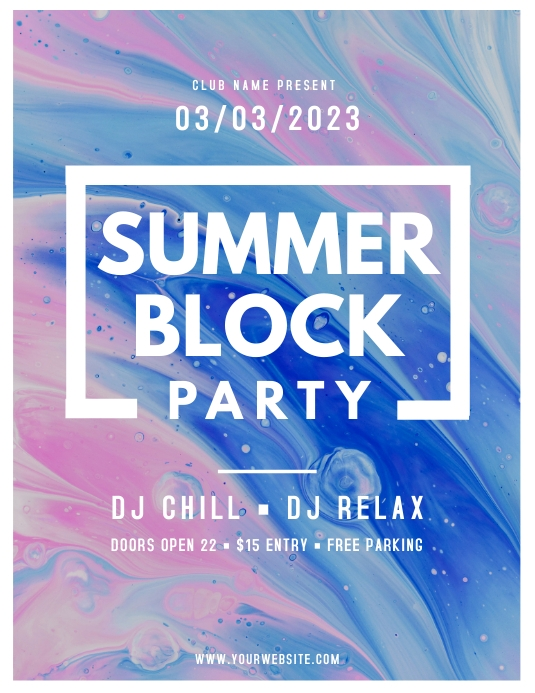 Watercolor Themed Summer Block Party Flyer
