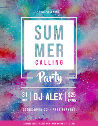 Watercolor Themed Summer Party Flyer