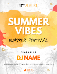 Watercolor Themed Summer Vibes Flyer