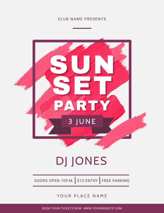 Watercolor Themed Sunset Party Flyer