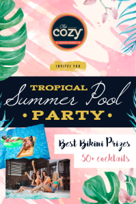 Watercolor Themed Tropical Party Poster