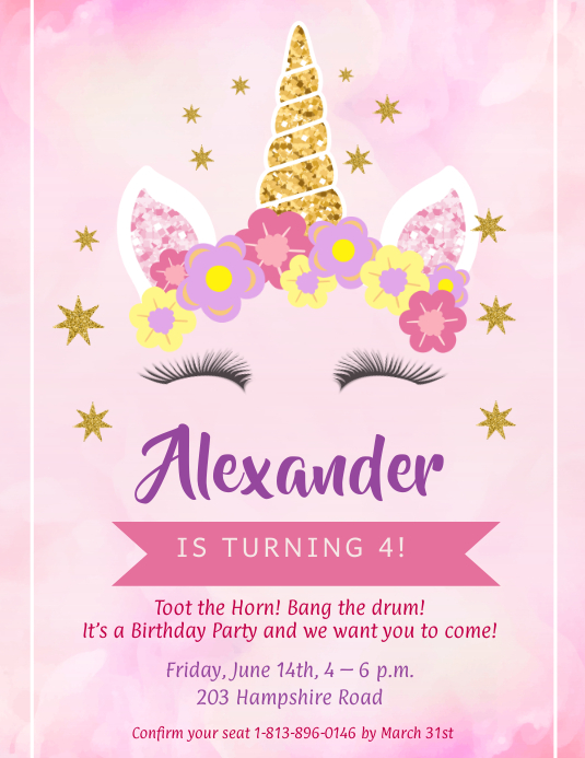 Watercolor Themed Unicorn Birthday Flyer Iflaya (Incwadi ye-US) template