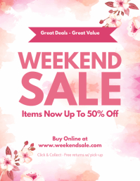 Watercolor Themed Weekend Sale Flyer