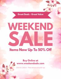 Watercolor Themed Weekend Sale Flyer