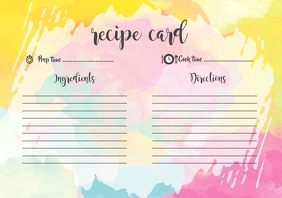 Watercolour Recipe Card