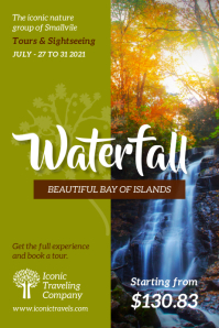 Waterfall destination poster template Affiche