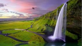 Waterfall Zoom Background Template Digital Display (16:9)