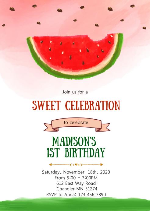 Watermelon birthday party invitation