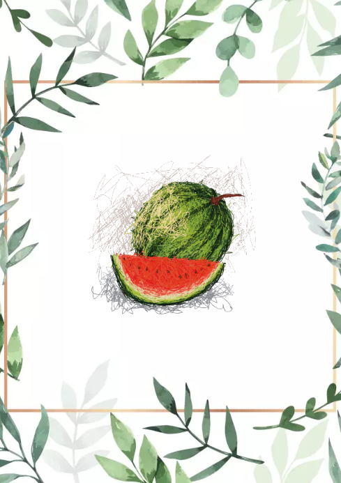 Watermelon olive frame green design A2 template