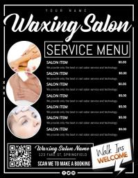 Waxing Salon Shop Service Menu Poster 传单(美国信函) template
