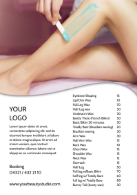 Waxing Studio Beauty Salon Price List Flyer