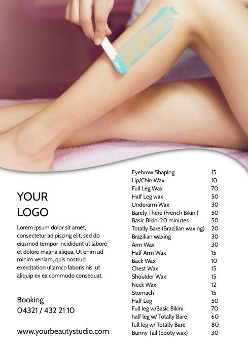 Waxing Studio Beauty Salon Price List Flyer A4 template