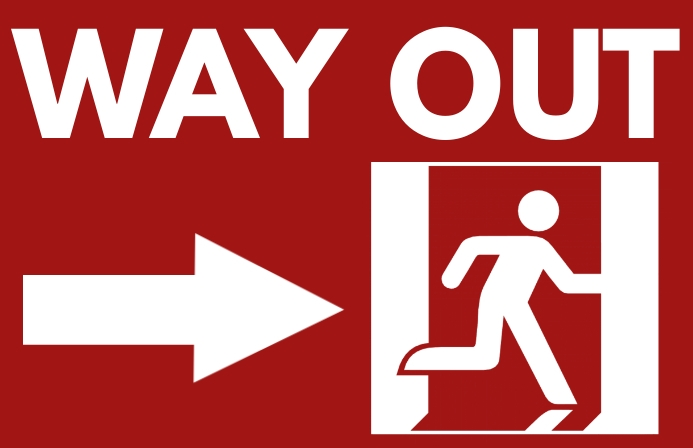 Way Out Exit Sign PosterTemplate Tabloid