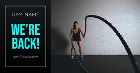 We're Back Gym Facebook Shared Image template