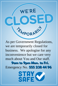We're Closed Temporarily Poster template