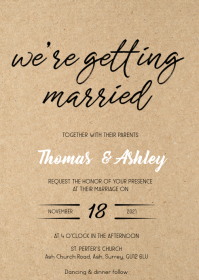 We're getting married wedding invitation
