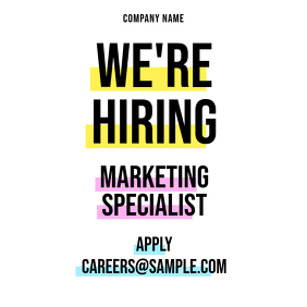 We're Hiring Highlighter Instagram Post