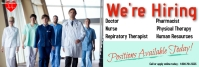 we're hiring/jobs/flyers/health/medical staff LinkedIn Banner template