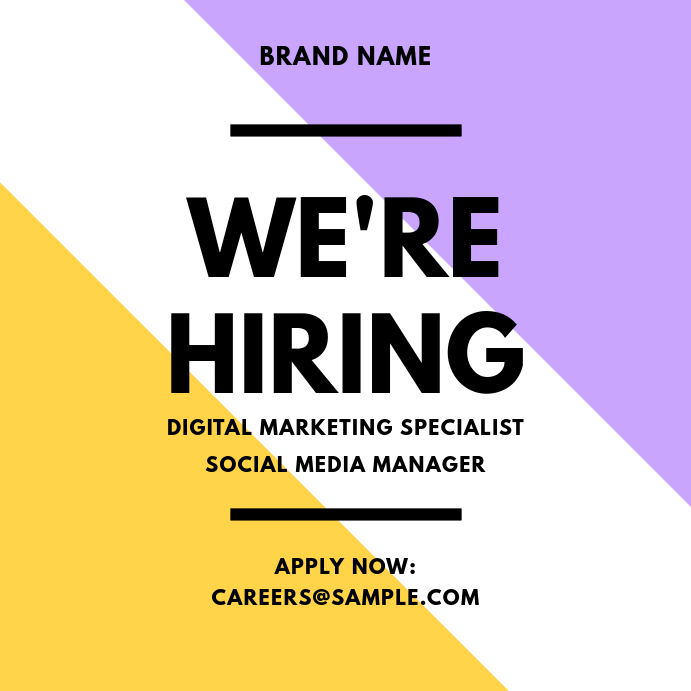 We're Hiring Purple Yellow Instagram Post