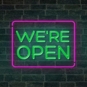 We're open neon sign animation video