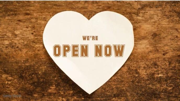 We're Open Now video Template Facebook 封面视频 (16:9)