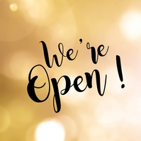 We're open Sign Promotion event Store