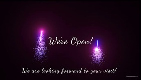 We're open sign video celebration banner head